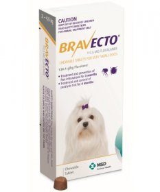 Bravecto Chewable Tablet for Dogs 4.4-9.9lb (Yellow, 2-4.5kg)