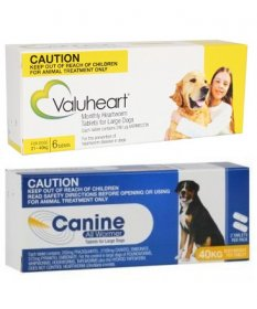 Complete Worming Pack for Large Dogs 45-88lb (21-40kg) - Valuheart plus Canine Allwormer
