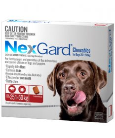 NexGard Chewables for Extra Large Dogs 60-120lb (Red, 25-50kg)