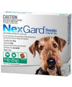 NexGard Chewables for Large Dogs 24-60lb (Green, 10-25kg)