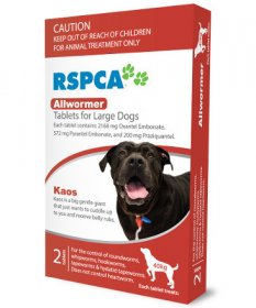 RSPCA Allwormer Tablets for Dogs 88lb (Red, 40kg) 2 pack