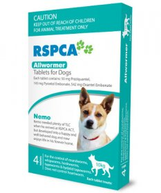RSPCA Allwormer Tablets for Dogs 22lb (Aqua, 10kg) 4 pack