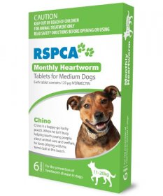 RSPCA Monthly Heartworm Tablets for Dogs 23-44lb (Green, 11-20kg) 6 pack